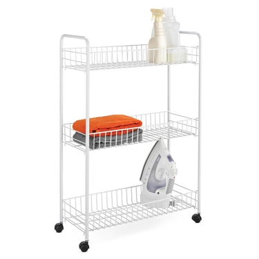 3-Tier White Laundry Cart by Honey-Can-Do