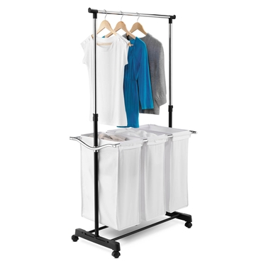 Triple Sorter Laundry Center w/ Hanging Bar by Honey-Can-Do
