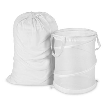 White Mesh Laundry Bag & Hamper Kit by Honey-Can-Do