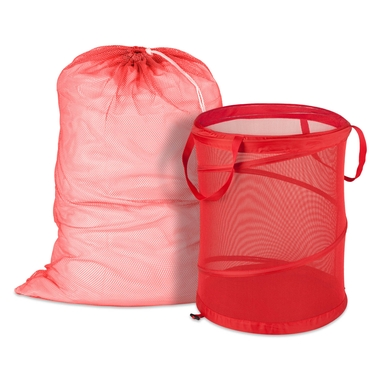 Red Mesh Laundry Bag & Hamper Kit by Honey-Can-Do