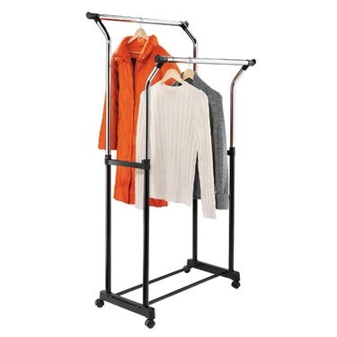 Flared Black/Chrome Double Garment Rack by Honey-Can-Do