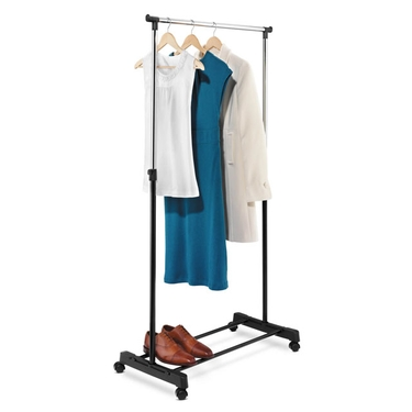 Adjustable Height Chrome/Black Garment Rack by Honey-Can-Do
