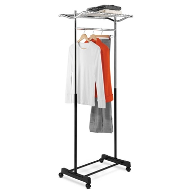 Chrome/Black Garment Rack w/ Top Shelf & Grid by Honey-Can-Do