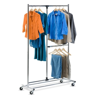80'' Dual Bar Chrome Adjustable Garment Rack by Honey-Can-Do