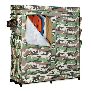 60'' Double-Door Camouflage Wardrobe w/ Shoe Organizer by Honey-Can-Do