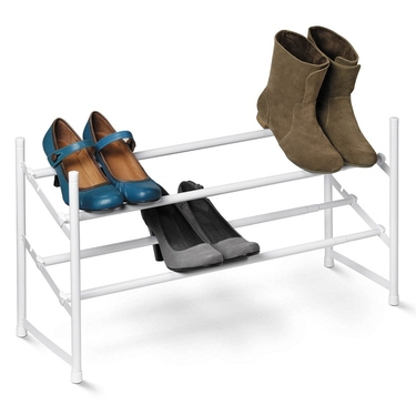2-Tier Expandable White Shoe Rack by Honey-Can-Do