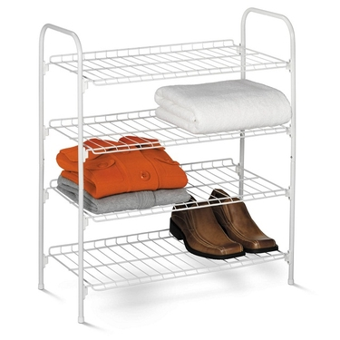 4 Tier White Wire Shoe & Accessory Shelf/Closet Shelves by Honey-Can-Do