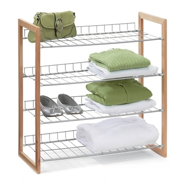 4 Tier Wood & Metal Storage Shelf by Honey-Can-Do