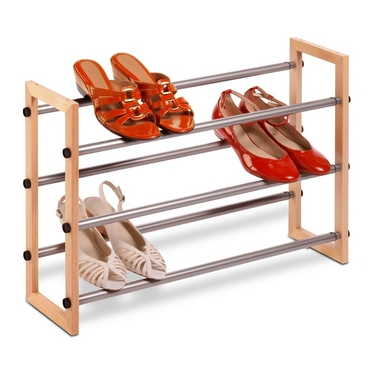 3-Tier Expandable Wood & Metal Shoe Rack by Honey-Can-Do