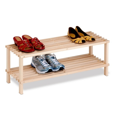 2-Tier Unfinished Natural Wood Shoe Rack by Honey-Can-Do