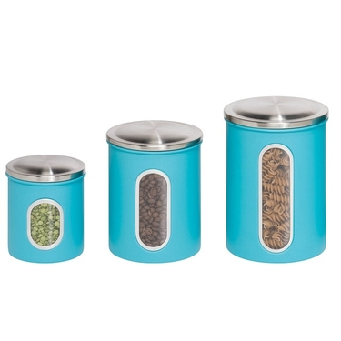 3 Pack Blue Metal Storage Canisters by Honey-Can-Do