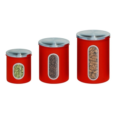 3 Piece Red Nested Storage Canisters by Honey-Can-Do
