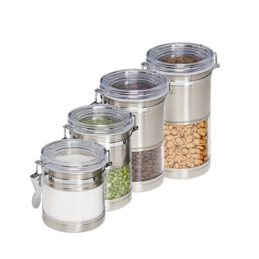 4 Pack Stainless & Acrylic Canisters by Honey-Can-Do