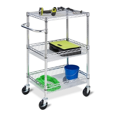 3-Tier Chrome HD Urban Rolling Cart by Honey-Can-Do