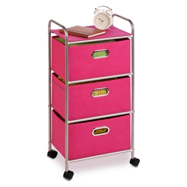 Pink 3 Drawer Rolling Cart by Honey-Can-Do