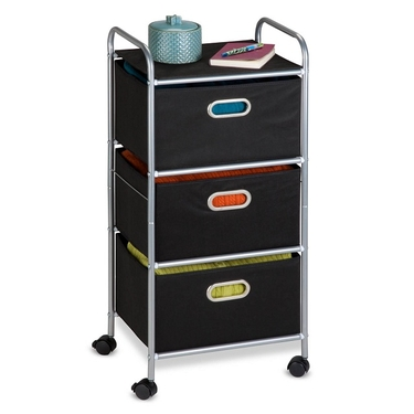 Black 3 Drawer Rolling Cart by Honey-Can-Do