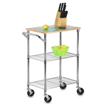 Chrome 2 Shelf Urban Rolling Cart by Honey-Can-Do
