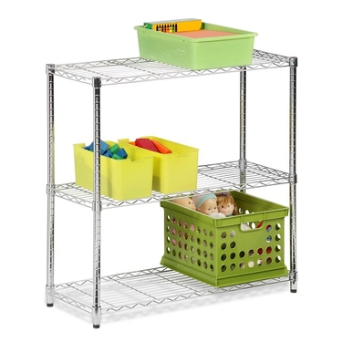 Three Tier Chrome Storage Shelves by Honey-Can-Do