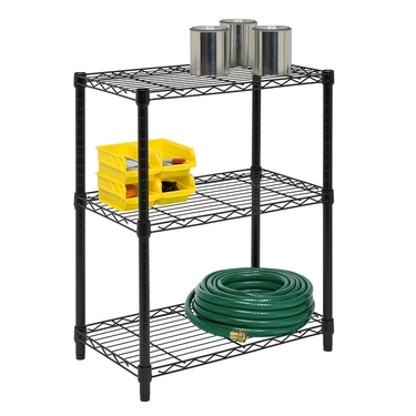 3-Tier Black Storage Shelves by Honey-Can-Do