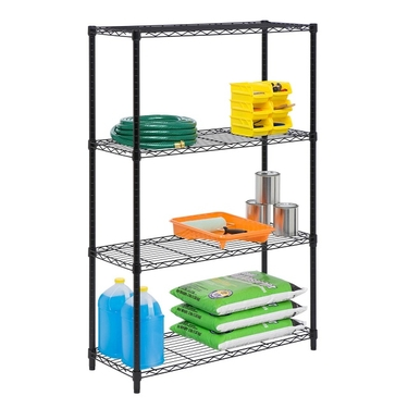 4-Tier Black Shelving Unit by Honey-Can-Do