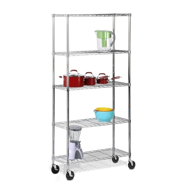 5 Tier Chrome Shelving Unit w/ Casters by Honey-Can-Do