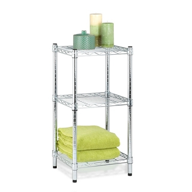 3-Tier Chrome Wire Shelving Tower by Honey-Can-Do