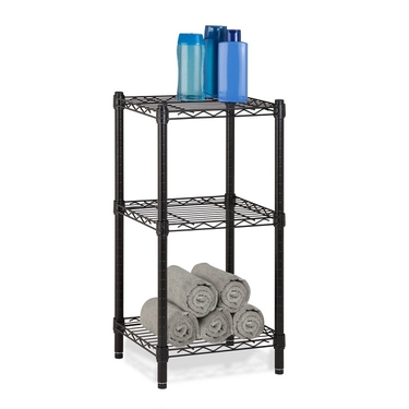 3-Tier Black Wire Shelving Tower by Honey-Can-Do