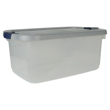 Clear/Steel 50 qt Roughneck Tote by Rubbermaid
