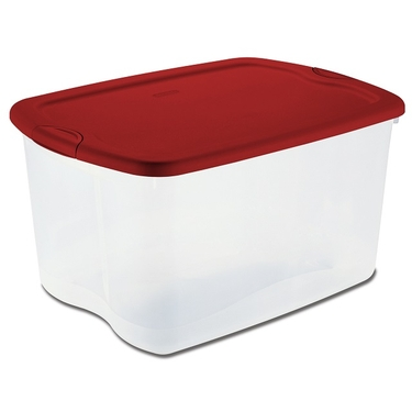 66 Quart Storage Tote by Sterilite  - Red & Clear