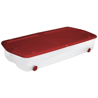 Sterilite 67 Qt Wheeled Underbed Latch Box Clear W Red Lid
