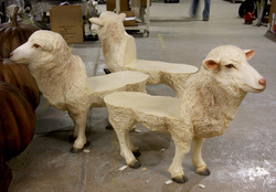 Life-Size Sheep Bench