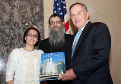 Right to Left: The Honorable Mayor Richard M. Daley, Rabbi Meir Chai Benhiyoun, Ruth Shaina Benhiyoun. Picture Credits: Brooke Collins