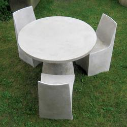 Stone Dining Chairs around Hive Table