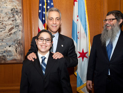 Levi Benhiyoun, Mayor Emanuel, Rabbi Benhiyoun