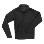 A black performance half-zip pullover can be purchased from Donald's Uniform Store and has our school logo embroidered on the chest placket.