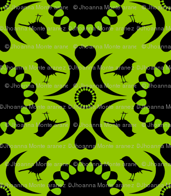 Folksy Robin (Chartreuse and Black)