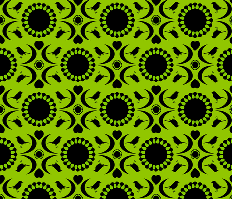 Folksy Robin (Chartreuse and Black) fabric by jmaranez on Spoonflower - custom fabric