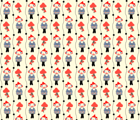 Woodland Girl (Red and Blue) fabric by jmaranez on Spoonflower - custom fabric