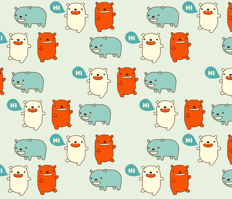 Happy Bears Say Hi fabric by marilynpatrizio on Spoonflower - custom fabric