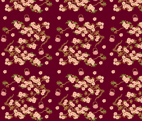 tea & blossoms fabric by thickblackoutline on Spoonflower - custom fabric