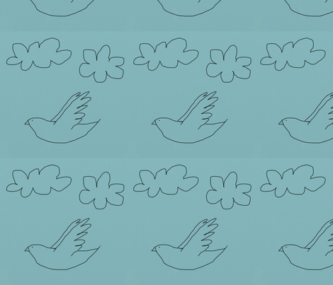 drawn_bird_on_blue fabric by kimmie on Spoonflower - custom fabric