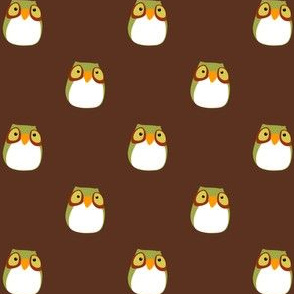 Brown Hooty Owl Fabric