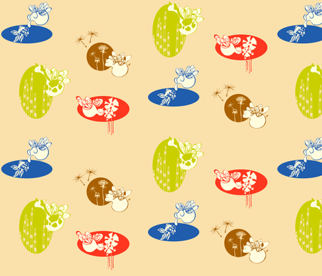 Buzzing Vignettes fabric by outofthebox on Spoonflower - custom fabric