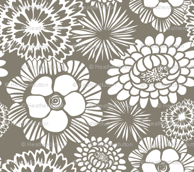 Festibloom - Modern Floral Taupe Brown
