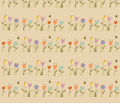 summer_flowers_neutral_background_lab fabric by phatsheepfabrics on Spoonflower - custom fabric