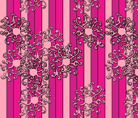 SCK Pink Stripes with a bit of curlies fabric by stacyck on Spoonflower - custom fabric