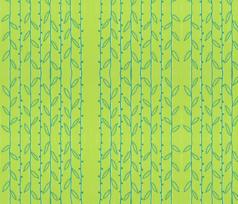 Teal Vines on Green fabric by balanced on Spoonflower - custom fabric