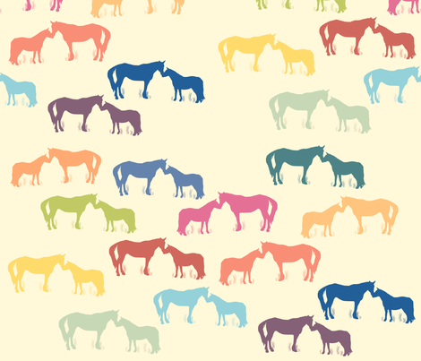 Horse Kisses Multi fabric by dreamwhisper on Spoonflower - custom fabric