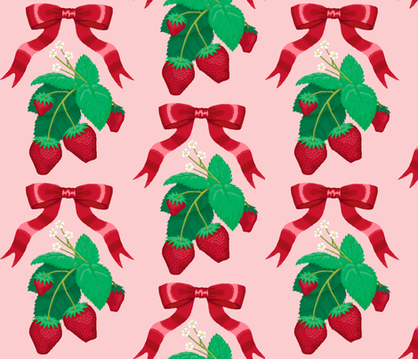 strawberry_ribbons_pink fabric by closetvictorian on Spoonflower - custom fabric