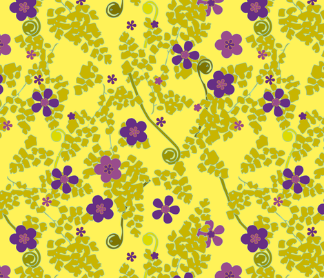 Maidenhair in Yellow fabric by anntuck on Spoonflower - custom fabric